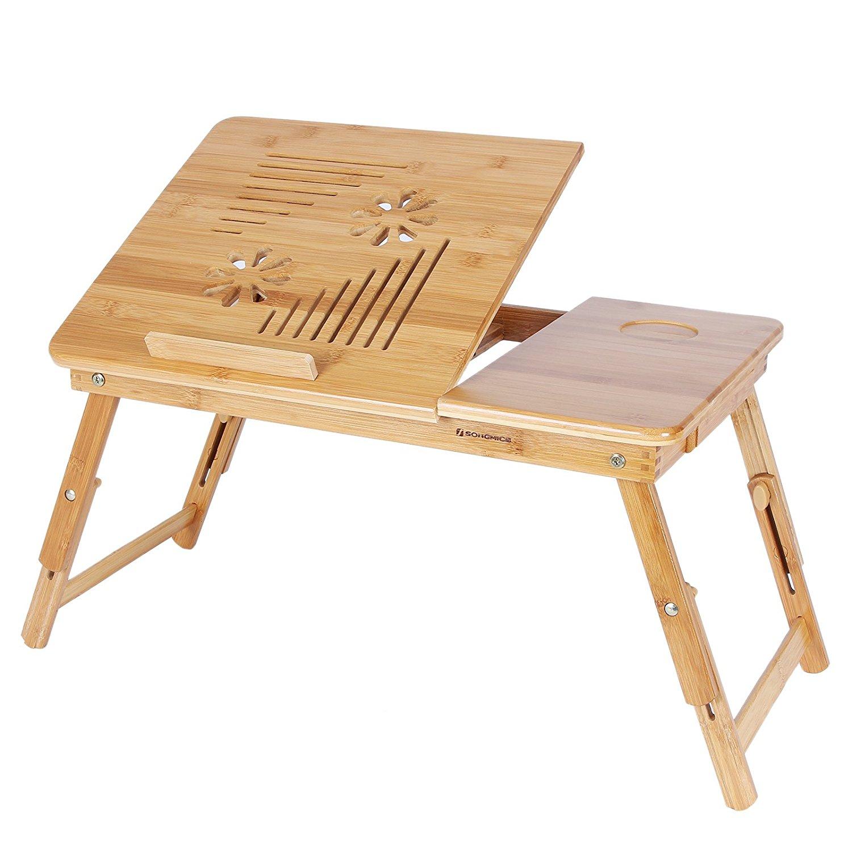 Table de lit pliable en bambou pour PC portable